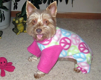 2 Leg Fleece Dog Sweater with Peace Signs and Contrasting Pink Sleeves, Dog Pajamas, Dog PJs