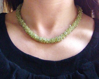 Sale Green Peridot Necklace - Wire Wrapped Gemstone Jewelry. August birthstone