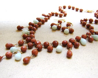 Sale Brown Sandstone Blue Amazonite Gold Fill Necklace