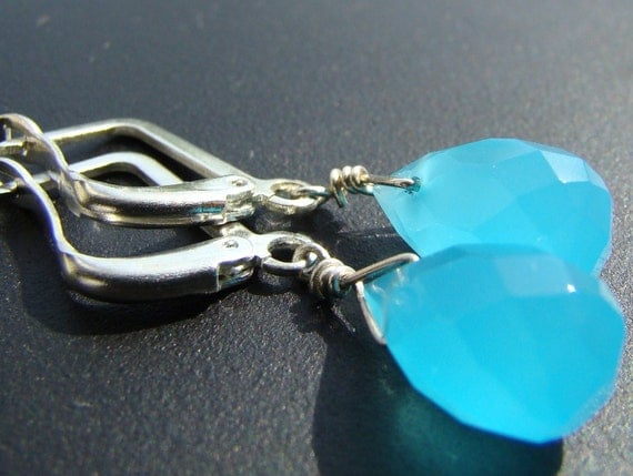 Sale Neon Blue Chalcedony Silver Earrings