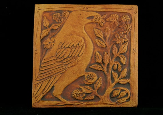Crow with berries tile. Made to order