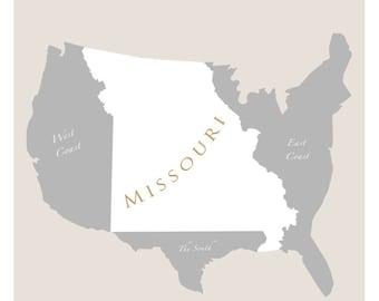 Missouri art poster -11x14 or 16x20 - Map of U.S. featuring Missouri - print home decor wall hanging