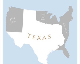 Texas Art Print - LARGE 16x20 or 22x28 - Map of U.S. featuring Texas -  print poster