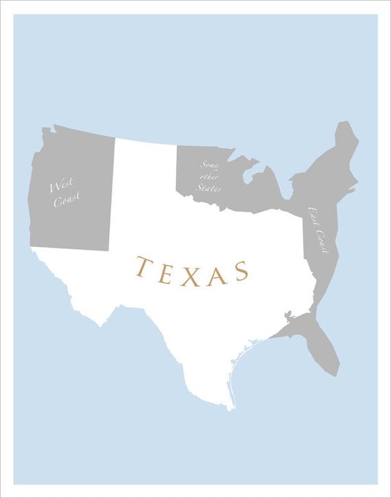 Texas Art Print LARGE X Or X Map Of US Featuring - Texas on us map
