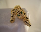 Tiger & Rhinestone Dynamic Articulated Bracelet  Rhinestone Hollywood Glam