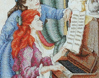 Marie Barber PIANO LESSON Picture - Counted Cross Stitch Pattern Chart - fam