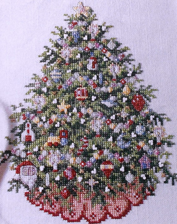 Ursula michael old fashioned christmas tree picture counted