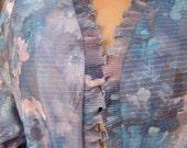 SALE 1960s Vintage Metallic Top Floral Ruffle Shrug Cosmic 70s Blouse Shirt Silver Stripes Painterly Artist Watercolors (M, L, XL)