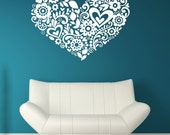 Heart Wall Art, Floral, Flowers, Flower, Daisy, Daisies, Swirl Decal, Nursery Decor, Home, Cute, Unique, Leaves, Leaf Wall Art, Kids Bedroom