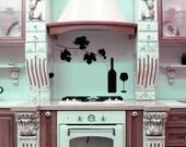 Grape Vine Decor, Wine Decal, Wine Glasses, Kitchen Decor, Wine Decor, Restaurant Decor, Kitchen Decal, Unique Decor, Wall Decal, Home Art