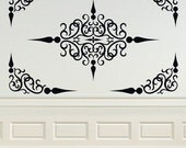 Decorative Scroll Panel, Ceiling Medallion, Swirl Decal, Corner Decal, Wrought Iron, Vinyl Sticker, Wall Art, Home, Office, Bedroom Decor