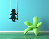 Tree Swing, Girl, Nursery Room Art, Swing Decal, Swinging, Summer, Summertime, Wall Decal, Sticker, Vinyl, Home, Daycare, Playroom Decor