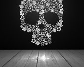 Skull Decor, Skull Decal, Skull Flowers, Flower Skull, Vinyl Wall Decal, Vinyl Sticker, Wall Decor, Wall Decal, Home, Dorm, Bedroom Decor