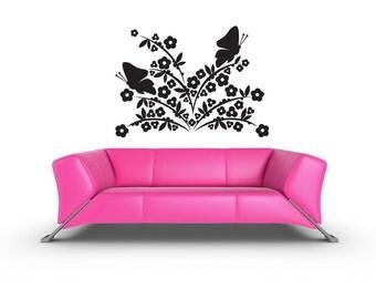 Butterly Decor, Flower Plant Decal, Butterflies, Butterfly Decal, Floral Decal, Home Wall Decor, Wall Decal, Nursery Wall Art, Butterfly Art