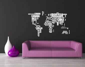 World Map Wall Art, World Map Decal, World Map Wall Decal, World Map Art, World Map Decor, Home Decor, Wall Art, School Decor