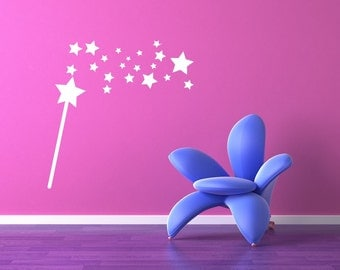 Magic Wand,  Princess Wall Decal, Princess Wall Decor, Princess Wall Art, Fairy Godmother Wand, Fairytale Decor, Nursery Decor, Star Decal