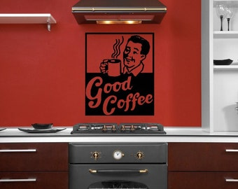 Coffee Sign, Coffee Decor Kitchen, Coffee Decal, Latte, Restaurant Decor, Kitchen Wall Art, Espresso Cup, Retro Decal, Vintage, Cup of Joe