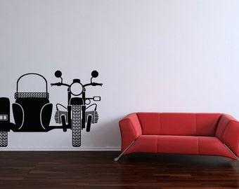 Motorcycle Wall Art, Sidecar, Gifts, Indian, Boyfriend Gifts, Triumph, Bike, Vinyl, Decal, Sticker, Wall, Home, Garage, Boy's, Men's Decor