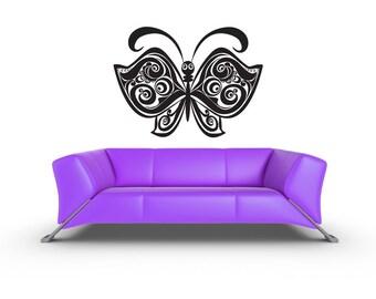 Whimsical Butterfly, Butterflies, Swirl Wall Decal, Scroll, Nursery Art, Playroom, Cute Decor, Home, Daycare, Kids, Childrens, Playroom Art