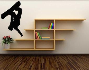 Snowboard Decor, Snowboarder Decal, Snowboard Art, Ski Lodge Decor, Winter Decor, Kids Wall Art, Tween Room Decor, Childrens Bedroom Decal
