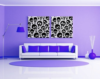 The Scream, Skulls , Set of 2, Skeleton Decal, Skull Decor, Halloween Decorations, Artwork, Goth Decor, Gothic Decor, Home Decal, Wall Art