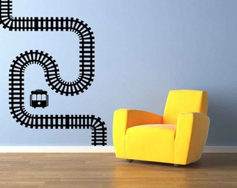 Train Tracks, Train Decal, Train Decor, Train Decorations, Locomotive, Wall Sticker, Home, Kid's Bedroom Decor, Playroom Decal, Boys Decor
