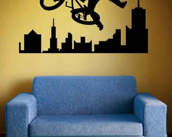 BMX Bike, Skyline Decal, City, Bike, Bicycle, Extreme Sports, Wall Decal, Tween Room Decor, Sticker, Vinyl, Wall, Home, Kid's Bedroom Decor