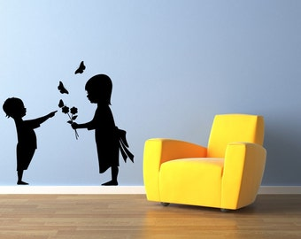 Girl, Boy, Flowers, Floral, Nursery Wall Decal, Toddlers, Butterflies, Butterfly Sticker, Vinyl, Wall, Home Art, Nursery, Daycare Decor