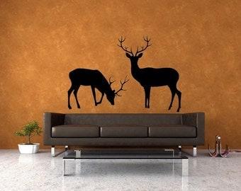 Deer Family, Art, Deer Antler, Deer Decor, Buck and Doe, Deer Decal, Deer Wall Decal, Deer Art, Hunt, Hunting, Holiday Decor, Wall Decal