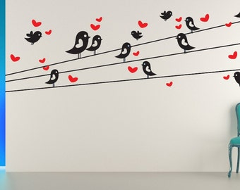 Birds on a Wire Wall Art, Birds on a Wire, Bird Decal, Bird Decor, Heart Decal, Heart Decor, Love Birds Art, Nursery Wall Decor, Home Decal