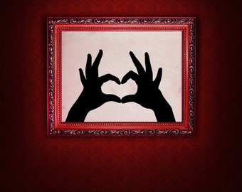 Sign Language Gifts, Heart Decor, Hearing Impaired, Sign Langeuage Art, Romantic, Wall Decal, Home Wall Art, Bedroom, Office, School Decor