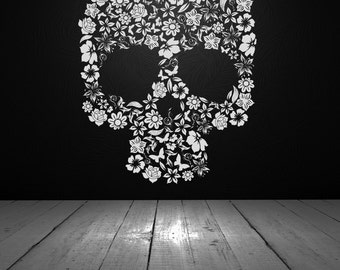 Skull Decor, Skull Decal, Skull Flowers, Flower Skull, Vinyl Wall Decal, Vinyl Sticker, Wall Decor, Wall Decal, Home, Dorm, Bedroom Decor