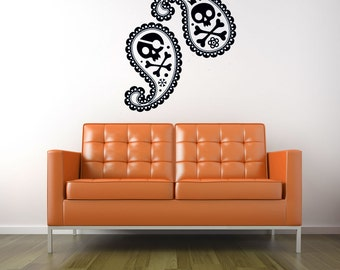 Halloween Decorations, Skull and Crossbones, Paisely Decor, Skull Decal, Gothic, Goth, Unique, Wall Decal, Party, Skeleton, Home Wall Art