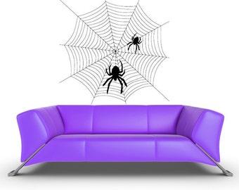 Halloween Spider Web, Holiday Decorations, Spiderweb, Bug, Gothic, Goth, Home Decor, Wall Decal, Vinyl Sticker, Spooky, Arachnophobia