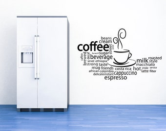 Hot Chocolate, Cocoa, Coffee Decal, Latte, Espresso, Word Cloud, Kitchen Wall, Restaurant Decor, Office Decor, Food Decal, Drink, Beverage