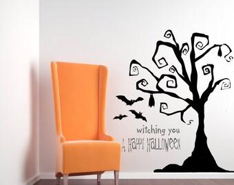 Tim Burton Decor, Tree Wall Decal, Tree Decal, Halloween Tree, Halloween Decorations, Wall Decal, Home Decor, Party Decor, Bat Decal, Art