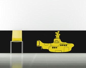 The Beatles, Yellow Submarine, Coast, Coastal, Aquatic Decal, Ocean, Sea, Music, Sub Sticker, Vinyl Art, Wall, Home, Bedroom, Musical Decor