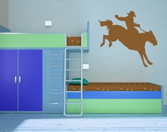 Rodeo Star, Bucking Bronco, Cowboy, West, Western Wall Decal, Sticker, Vinyl, Home Art, Bedroom Decor, Cowboys and Indians, Hat, 8 seconds