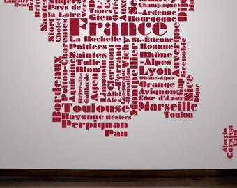 France Decor, Paris Decal, French Decor, French Decals, Europe, Eurpoean, Foreign, Word Cloud, Tween Room Decor, Childrens Wall Art, Paris