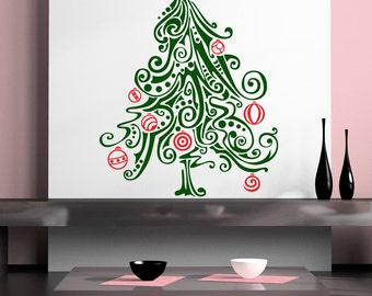 Christmas Tree Wall Decal, Pine, Evergreen, Xmas Decorations, Swirl, Ornaments, Ornament, Polka Dots, Sticker, Vinyl, Home, Holiday Decor