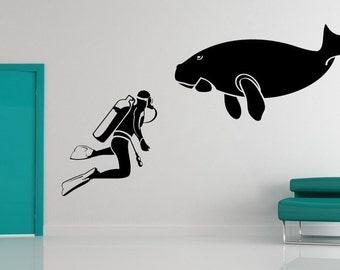 Scuba Diver, Dugong Decal, Vinyl Sticker, Aqarium, Office, Home, Wall Decor, Ocean Art, Sea Artwork, Fish, Diving, Coast, Coastal, Creature