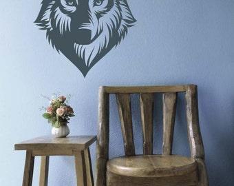 Wolf Decal, Wolf Decor, Huskey, Dog Decal, Dog Decor, Vinyl Decal, Wall Sticker, Wall Art, Home Decor, Dorm Decor, Bedroom Decor