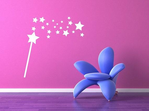 Magic Wand,  Princess Wall Decal, Princess Wall Decor, Princess Wall Art, Fairy Godmother Wand, Fairytale Decor, Nursery Decor, Star Decal