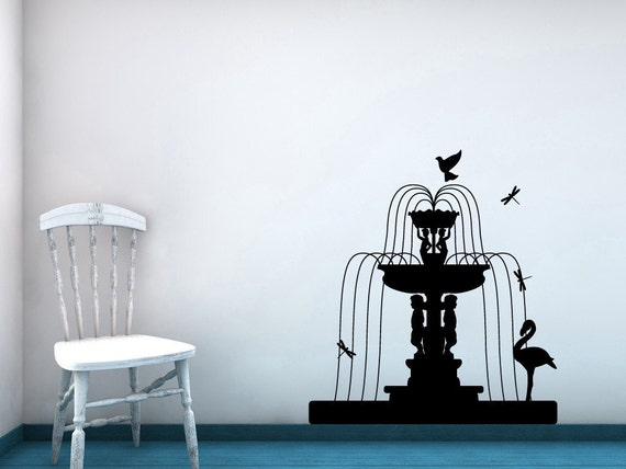 Water Fountain, Pink Flamingo Wall Decal, Bird Decor, Birds, Garden Statue, Yoga, Dragonfly, Cherub, Home Artwork, Patio Vinyl Sticker, Art