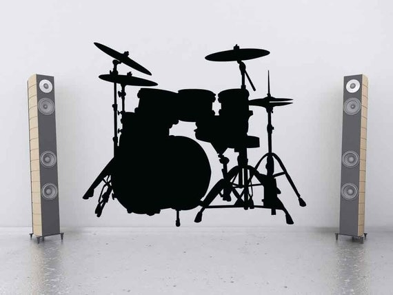 Drum Set, Drum Art, Drum Wall Art, Drum Decal, Snare, Cymbals, Bass, Wall Decal, Music Decal, Sticker, Vinyl, Wall, Home, Kids Bedroom Decor