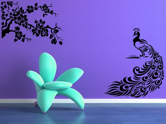 Peacock Feathers, Interior Design, Decorative, Feather, Branch, Branches, Floral, Flower, Vinyl Decal, Wall Art, Sticker, Nursery, Bedroom