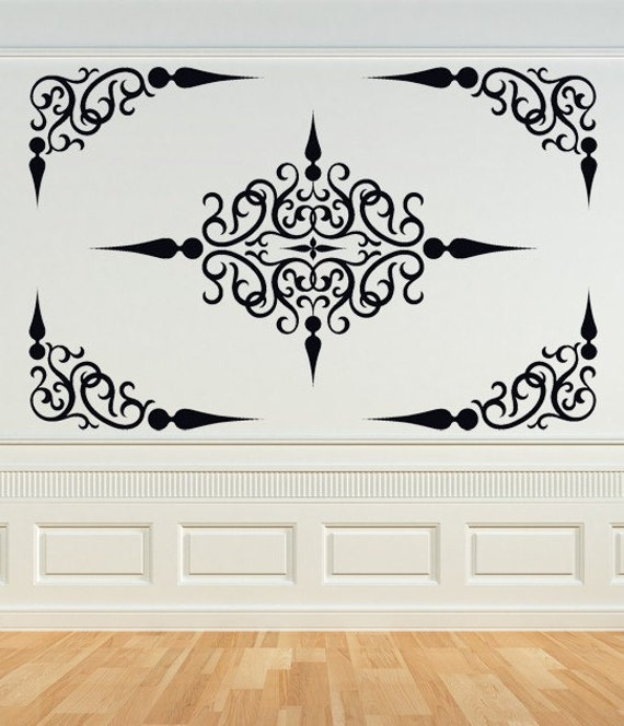 Decorative Scroll Panel, Ceiling Medallion, Swirl Decal, Corner Decal, Wrought Iron,