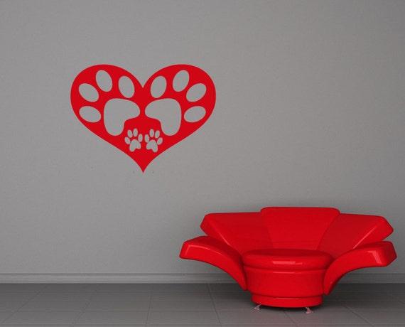 Heart Decor, Paw Prints, Pet Wall Decal, Veterinarian Artwork, Vet Tech Gifts, Cat, Dog, Vinyl Sticker, Home Art, Office, Nursery Decor
