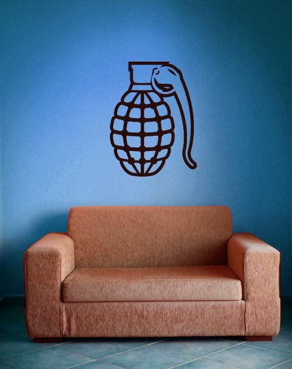 Grenade, Military Decals, Grenade Sticker, Military Decor, Smoke Grenade, Army Decor, Navy, Airforce, Marines, Wall Art, Boy's Bedroom Decor