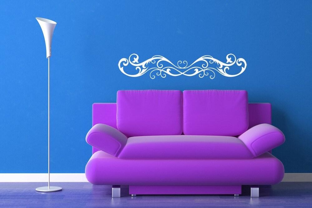 Horizontal Wall Art Victorian Swirl Decal Fleur De Lis